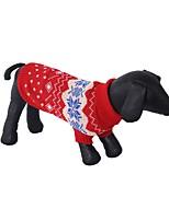 Недорогие -Собаки Свитера Одежда для собак Геометрический принт Цветы Красный Темно-синий Серый Акриловые волокна Костюм Назначение Корги Пудель Чихуахуа Весна Осень Универсальные На каждый день