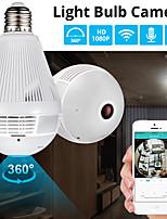 """Недорогие -360 градусов светодиодный свет 1080 P беспроводной панорамный домашней безопасности Wi-Fi видеонаблюдения """"рыбий глаз"""" лампа 2-мегапиксельная ip-камера с микрофоном"""