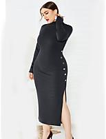 Недорогие -Жен. Классический Элегантный стиль Трикотаж Платье - Однотонный Средней длины