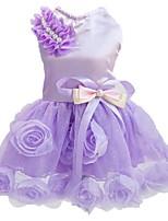 Недорогие -Собаки Инвентарь Платья Одежда для собак Цветы Бант Лиловый Пурпурный Розовый Полиэстер Костюм Назначение Лето Свадьба