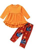 Недорогие -Дети Девочки Уличный стиль С принтом Halloween Длинный рукав Хлопок Набор одежды Желтый