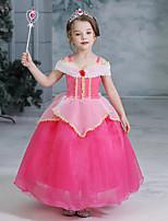 Недорогие -Дети Девочки Активный Милая Пэчворк Пэчворк С короткими рукавами Средней длины Платье Пурпурный