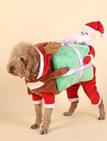 Недорогие -Собаки Коты Животные Костюмы Комбинезоны Одежда для собак Персонажи Красный Полиэстер Костюм Назначение Зима Хэллоуин Рождество