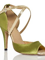 Недорогие -Жен. Танцевальная обувь Искусственная кожа Обувь для латины На каблуках Толстая каблук Зеленый