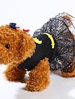 Недорогие -Собаки Платья Одежда для собак Простой Черный Красный Полиэстер Костюм Назначение Зима Хэллоуин