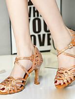 Недорогие -Жен. Танцевальная обувь Полиуретан Обувь для латины На каблуках Тонкий высокий каблук Персонализируемая Оранжевый