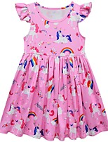Недорогие -Дети Девочки Симпатичные Стиль Мультипликация Платье Розовый