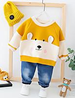 Недорогие -малыш Мальчики Активный / Классический С принтом С принтом Длинный рукав Обычный Обычная Набор одежды Оранжевый