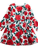 Недорогие -Дети Дети (1-4 лет) Девочки Активный Милая Цветочный принт С принтом Длинный рукав Выше колена Платье Красный
