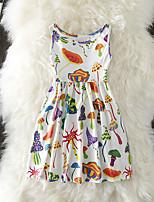 Недорогие -Дети Дети (1-4 лет) Девочки Активный Милая Цветочный принт С принтом Без рукавов До колена Платье Белый