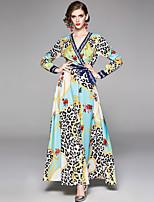 Недорогие -Жен. Богемный Элегантный стиль С летящей юбкой Платье - Цветочный принт Леопард, Шнуровка С принтом Макси