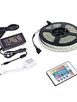 Недорогие -5m RGB полосы света / пульты дистанционного управления 1170 10 мм светодиодов 1 пульт дистанционного управления 24 ключа / 1 х 12 В 5a блок питания RGB Cuttable / вечеринка / свадьба 220-240 В / 110-1