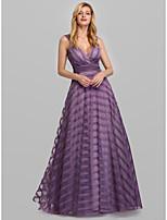 Недорогие -А-силуэт Погруженный декольте В пол Тюль Торжественное мероприятие Платье с от LAN TING Express