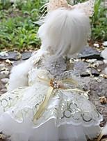 Недорогие -Собаки Инвентарь Платья Одежда для собак Вышивка Белый Полиэстер Костюм Назначение Лето Свадьба