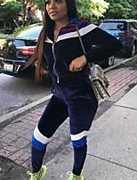 Недорогие -Жен. Пэчворк Front Zipper Спортивный костюм Контрастных цветов Бархат Бег Фитнес Наборы одежды Длинный рукав Спортивная одежда Дышащий Мягкий Эластичная Стандартный