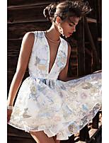 Недорогие -Жен. А-силуэт Платье - Цветочный принт Мини
