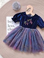 Недорогие -Дети (1-4 лет) Девочки Активный Геометрический принт С принтом Рукав до локтя До колена Платье Лиловый