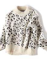 Недорогие -Дети Девочки Классический Леопард Длинный рукав Свитер / кардиган Розовый