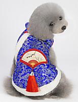 Недорогие -Собаки Коты Животные Платья Одежда для собак Тюль Красный Синий Полиэстер Костюм Назначение Весна Этнический Новый год