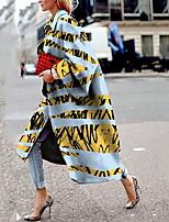 Недорогие -Жен. Повседневные Длинная Пальто, Полоски Рубашечный воротник Длинный рукав Полиэстер Синий