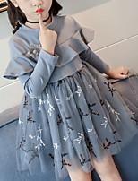 Недорогие -Дети Девочки Однотонный До колена Платье Синий