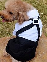Недорогие -Собаки Костюм Одежда для собак Контрастных цветов Белый Полиэстер Костюм Назначение Лето Женский Свадьба
