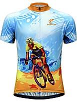 Недорогие -JESOCYCLING Муж. С короткими рукавами Велокофты Голубой + оранжевый Велоспорт Джерси Дышащий Быстровысыхающий Анатомический дизайн Виды спорта 100% полиэстер Горные велосипеды Шоссейные велосипеды