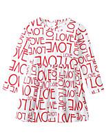 Недорогие -Дети Дети (1-4 лет) Девочки Активный Классический Буквы С принтом Длинный рукав До колена Платье Серебряный