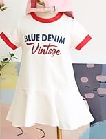 Недорогие -Дети Девочки Симпатичные Стиль Буквы С короткими рукавами Платье Белый