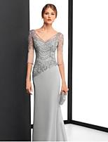 Недорогие -Футляр V-образный вырез В пол Шифон Торжественное мероприятие Платье с Аппликации от LAN TING Express
