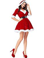 Недорогие -Дед Мороз Новогоднее платье Взрослые Жен. Рождество Фестиваль / праздник Вязанная Темно-красный Жен. Карнавальные костюмы / Платье / Пояс