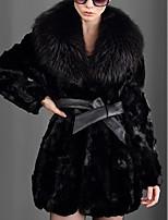 Недорогие -Жен. Повседневные Наступила зима Обычная Искусственное меховое пальто, Однотонный Отложной Длинный рукав Искусственный мех Черный