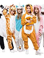 Недорогие -Детские Пижамы кигуруми Жираф Unicorn Тоторо Цельные пижамы Флис Белый + розовый / Черный / Белый / Оранжевый Косплей Для Мальчики и девочки Нижнее и ночное белье животных Мультфильм