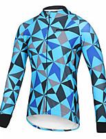 Недорогие -21Grams Муж. Длинный рукав Велокофты Синий Клетки Велоспорт Джерси Верхняя часть Сохраняет тепло Устойчивость к УФ Дышащий Виды спорта Зима 100% полиэстер Горные велосипеды Шоссейные велосипеды Одежда