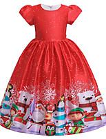 Недорогие -Дети Девочки Активный Милая В снежинку С принтом С короткими рукавами Средней длины Платье Красный