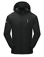 cheap -Wolfcavalry® Men's Hiking Jacket Hiking Windbreaker Outdoor Thermal / Warm Waterproof Windproof Breathable Jacket Top Elastane Full Length Hidden Zipper Camping / Hiking Hunting Ski / Snowboard Black