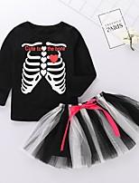 Недорогие -Дети (1-4 лет) Девочки Классический С принтом Halloween Длинный рукав Набор одежды Черный
