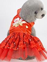 Недорогие -Собаки Коты Животные Платья Одежда для собак Цветы Лиловый Пурпурный Желтый Полиэстер Костюм Назначение Лето Этнический