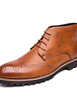 Недорогие -Муж. Кожаные ботинки Наппа Leather Весна / Осень Деловые / На каждый день Туфли на шнуровке Для прогулок Нескользкий Черный / Коричневый