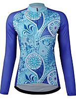 Недорогие -21Grams Цветочные ботанический Жен. Длинный рукав Велокофты - Тёмно-синий Велоспорт Джерси Верхняя часть Сохраняет тепло Устойчивость к УФ Дышащий Виды спорта Зима 100% полиэстер / Эластичная