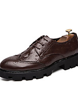 Недорогие -Муж. Кожаные ботинки Полиуретан Наступила зима Деловые Туфли на шнуровке Черный / Коричневый
