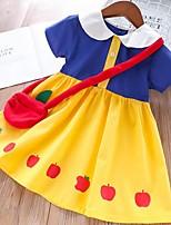 Недорогие -Дети Девочки Контрастных цветов Halloween Платье Желтый