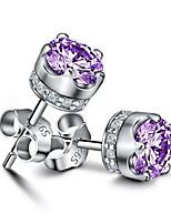 Недорогие -серьги из натурального пурпурного аметиста с короной из хрусталя