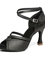 Недорогие -Жен. Танцевальная обувь Микроволокно Обувь для латины На каблуках Тонкий высокий каблук Черный / Золотой / Бежевый