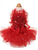 Недорогие -Собаки Коты Животные Платья Одежда для собак Кружева Красный Розовый Полиэстер Костюм Назначение Лето Мужской Свадьба