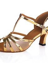 Недорогие -Жен. Танцевальная обувь ПВХ Обувь для латины На каблуках Кубинский каблук Персонализируемая Золотой