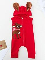 Недорогие -малыш Девочки Классический С принтом / Рождество Без рукавов Хлопок 1 предмет Красный