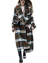 Недорогие -Жен. Повседневные Наступила зима Обычная Пальто, В клетку Отложной Длинный рукав Полиэстер Зеленый