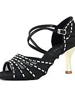 Недорогие -Жен. Танцевальная обувь Сатин Обувь для латины Кристаллы На каблуках / Кроссовки Тонкий высокий каблук Черный / Хаки