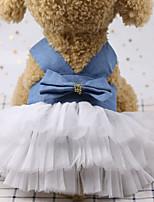 Недорогие -Собаки Коты Животные Платья Одежда для собак Бант Зеленый Красный Синий Полиэстер Костюм Назначение Лето Свадьба